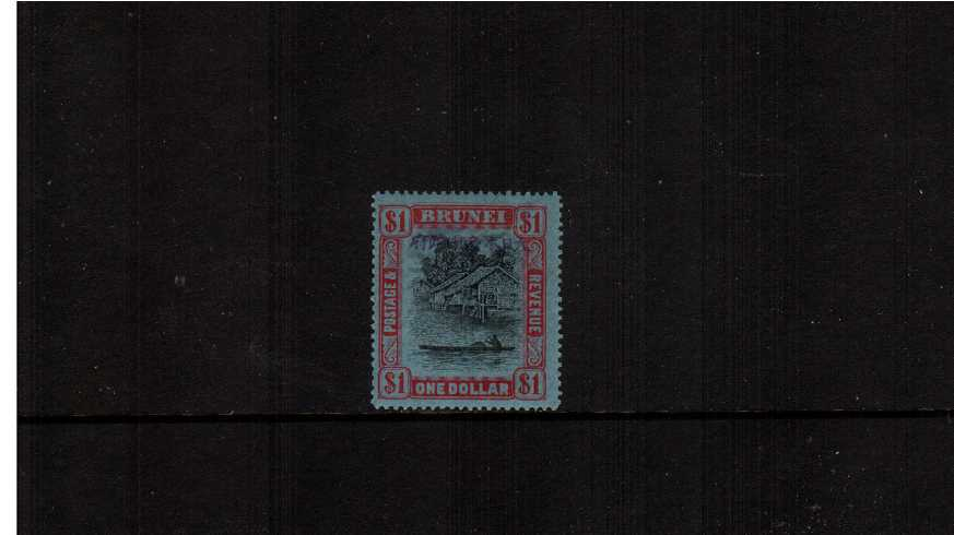 $1 Black and Red on Blue superb unmounted mint.
