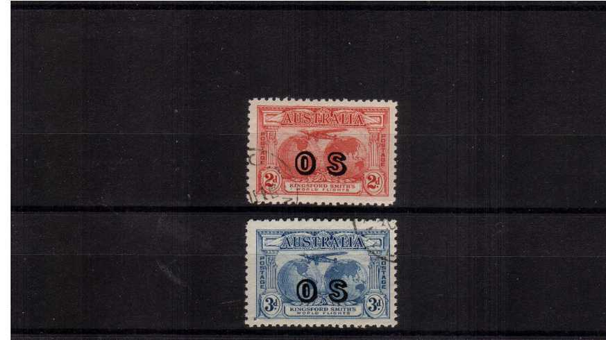 The Kingsford Smith Flight pair overprinted ''O S'' cancelled to order.<br/>A lovely bright and fresh pair.<br/><b>ZAZ</b>