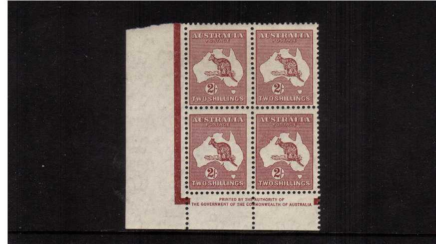 2/-  Authority Imprint SW corner block of four lightly<br/>mounted mint on the top two stamps.