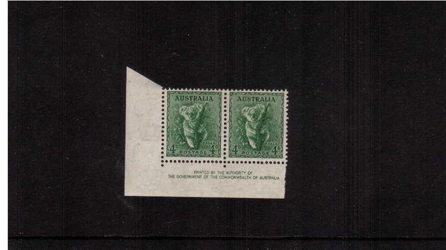 4d Green - Perforation 15x14 Authority Imprint SW corner block of four lightly<br/>mounted mint on the top two stamps.