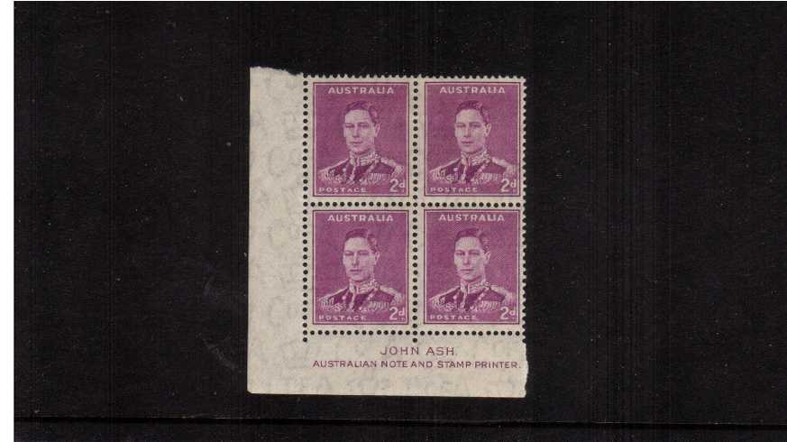 2d Bright Purple - John Ash Imprint SW corner block of four lightly<br/>mounted mint on the top two stamps.