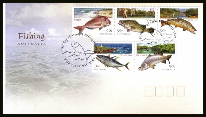 Angling in Australia set of five on an official unaddressed AUSTRALIA POST<br/> colour first day cover dated