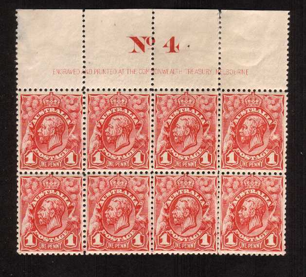 1d Red Engaved - No Watermark<br/>A fine imprint block of eight - superb unmounted mint - mounted<br/>on margin showing a large ''No. 4''. Lovely