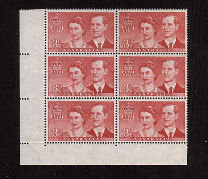 Royal Visit - 3絛 SW corner block of six showing the SG illustrated Re-entry variety ''vertical lines doubled in ROYAL VISIT and 3'絛' Lovely! Seldom seen.