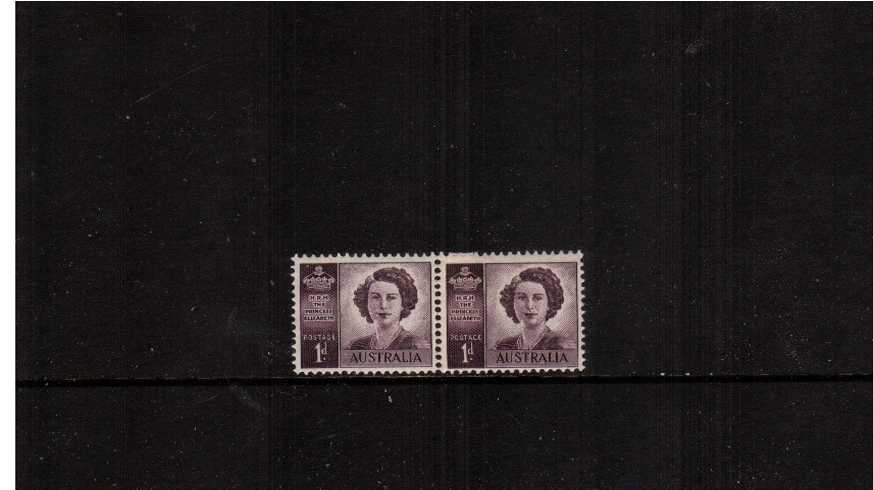 2d Marriage of Queen Elizabeth - No watermark<br/>in an unmounted mint horizontal coil join pair.<br/><b>ZAZ</b>