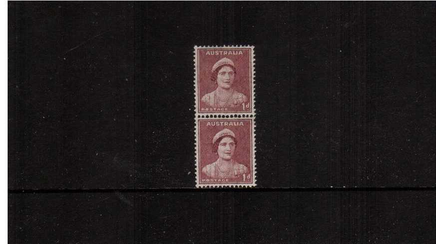 1d Maroon Queen Elizabeth in an unmounted mint vertical coil pair showing the distinctive special coil perforations between the two stamps. 