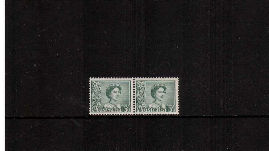 3d Blue-Green in an unmounted mint vertical coil pair showing the distinctive special coil perforations between the two stamps. <br/><b>ZAZ</b>