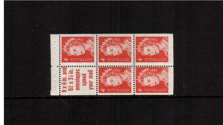 4c Red in a superb unmounted mint booklet pane of five with label ''SPEED YOUR MAIL''.
