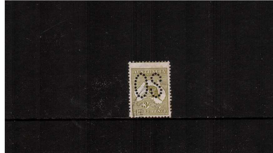 3d Olive - Die I<br/>A very fine used single perforated ''O S''.<br/>An extra tall stamp because of a perforating comb jump!