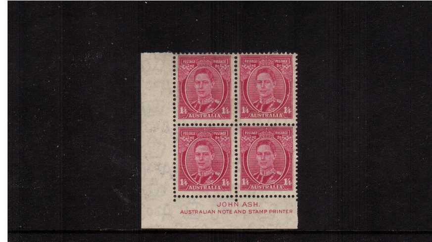 1/4d Pale Magenta in a SW corner imprint block of four lightly mounted on the top two stamps and unmounted mint on the lower two.