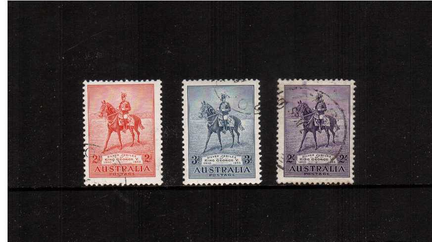 Silver Jubilee set of three superb fine used all with very light cancels. Lovely.