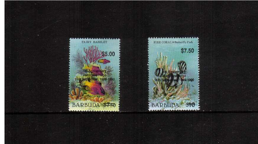 The ''First Annivsary of Hurricane Hugo'' overprint complete set of two superb unmounted mint.