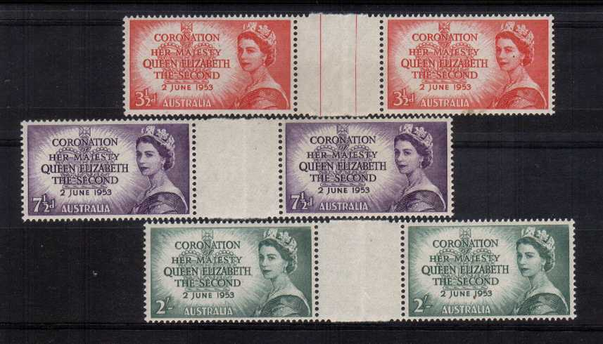 The Coronation set of three in superb unmounted mint gutter pairs. Lightly folded in the margin which is probably the only way they come! Rare set!