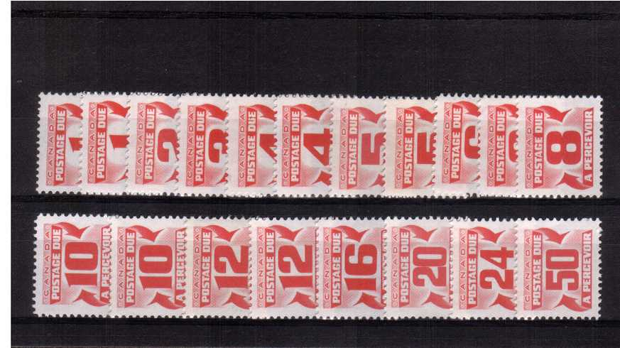 The POSTAGE DUE set of ninteen complete with all the perforation  types and inscluding the first 5c value. A difficult set to build. <br><b>XQX</b>