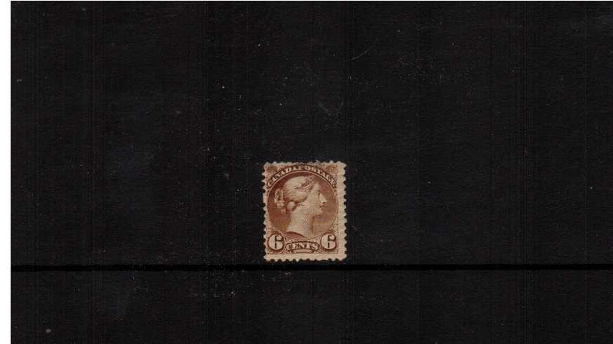 6c Pale Chestnut ''Small Queen''<br/>A mounted mint single with full original gum. The stamp has some<br/>minor nibbled perforations at top reflected in the price.