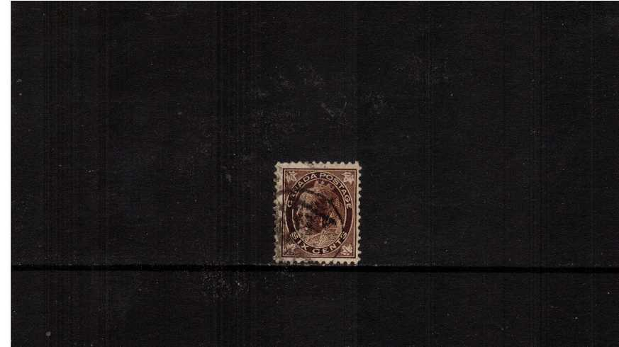 6c Brown ''Maple Leaf'' definitive single<br/>A good used single with shortish perf at foot.<br/><b>XQX</b>