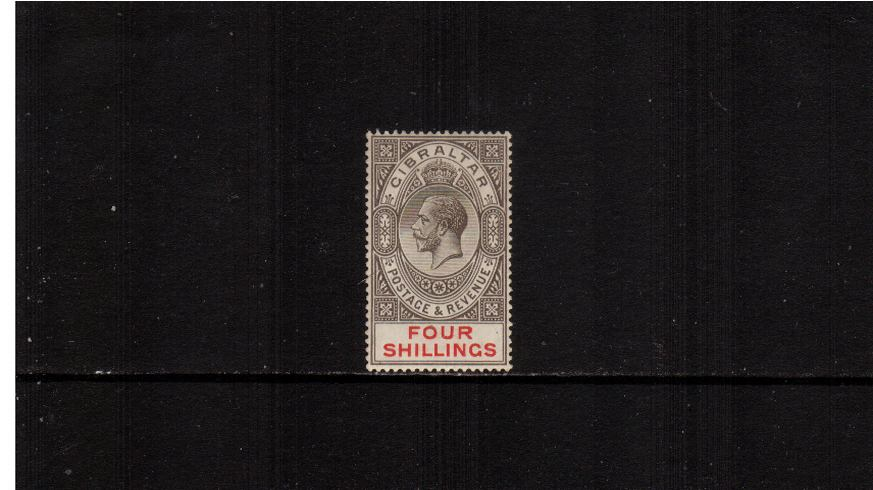4/- Black and Carmine - Watermark Multiple Crown CA<br/>