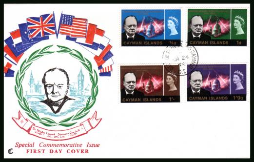 Churchill Commemoration official First Day Cover<br/>Please note that this is priced on the value of the used stamps <br/> with no special premium because its a FDC.