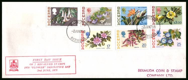 The later values complete set of the Flowers Definitive set issued in 1975 <br/>A superb  First Day Cover offered at the value of the used stamps alone.