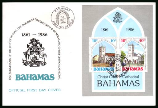 125th Anniversary of City of Nassau Cathedral<br/>on an unaddressed illustrated FDC