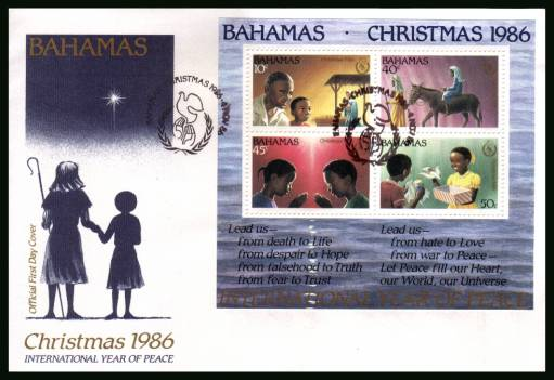 Christmas - International Peace Year<br/>on an unaddressed illustrated FDC