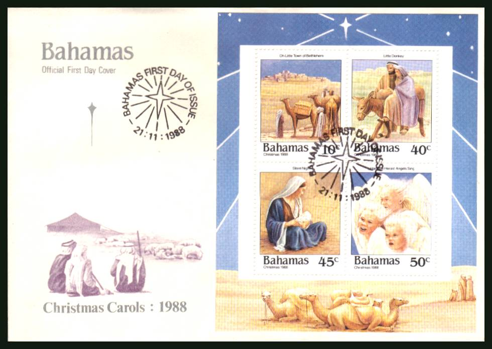 Christmas Carols<br/>on an unaddressed illustrated FDC