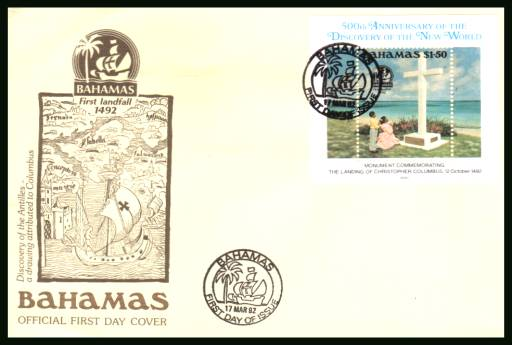500th Anniversary of Discovery of America by Columbus<br/>on an unaddressed illustrated FDC