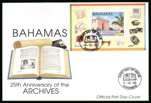 25th Anniversary of Archives Department minisheet <br/>on an unaddressed illustrated FDC