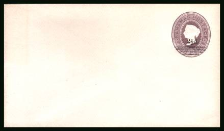 Postal Stationery mint envelope 4d Lilac surcharged 2絛. Size 139mm x 83mm<br/>Stunning, pristine condition