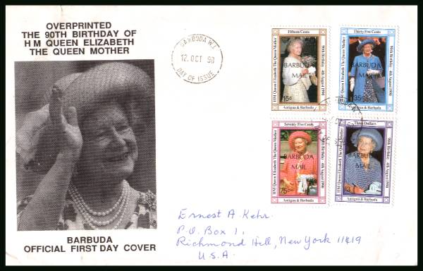 90th Birthday of The Queen Mother<br/>on a hand addressed First Day Cover to New York USA