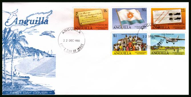 Seperation of Anguilla from St. Kitts on an unaddressed First Day Cover