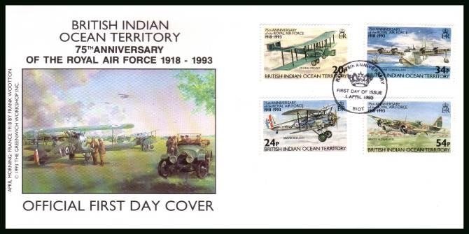 75th Anniversary of Royal Air Force<br/>cancelled with special cancel on an illustrated First Day Cover