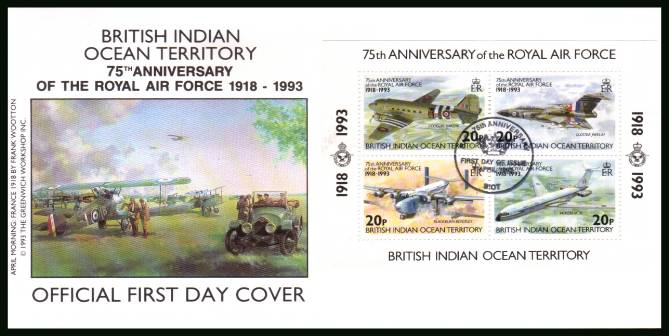 75th Anniversary of Royal Air Force minisheet<br/>cancelled with special cancel on an illustrated First Day Cover