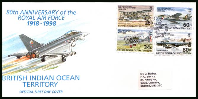 80th Anniversary of the Royal Air Force<br/>cancelled with special cancel on an illustrated, label addressed  First Day Cover