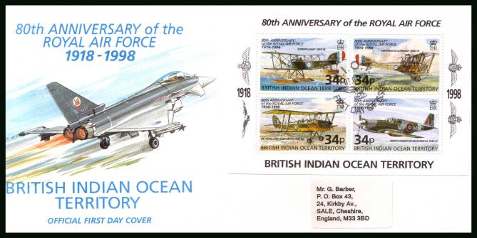 80th Anniversary of the Royal Air Force minisheet<br/>cancelled with special cancel on an illustrated, label addressed  First Day Cover