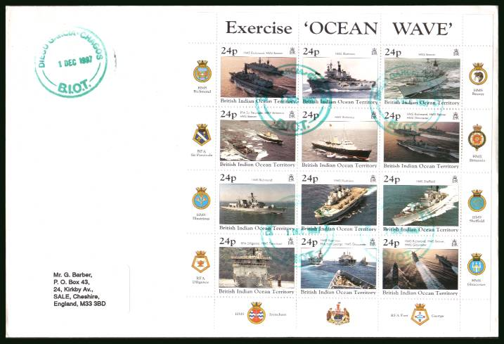Excercise Ocean Wave sheetlet of twelve<br/>cancelled with special TURQUOISEcancel on a plain, label addressed  First Day Cover.<br/>It could be that because this is a sheetlet no illustrated cover was produced.