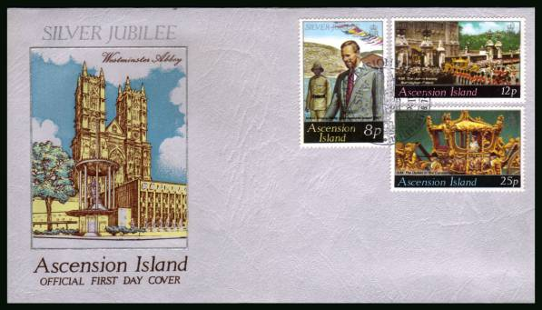 Silver Jubilee <br/>on an official unaddressed official First Day Cover