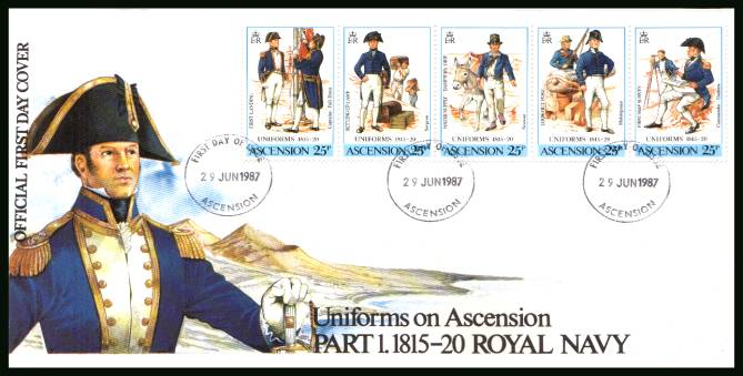 19th Century Uniforms - 1st Series strip of five<br/>on an official unaddressed official First Day Cover