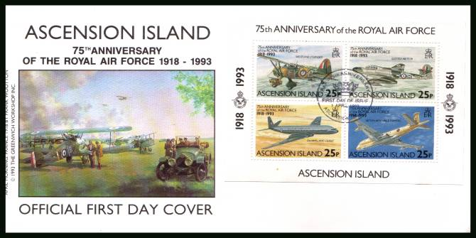 75th Anniversary of the Royal Air Force<br/>on an official unaddressed official First Day Cover