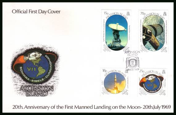 20th Anniversary of First Manned Landing on the Moon<br/>on an official unaddressed official First Day Cover