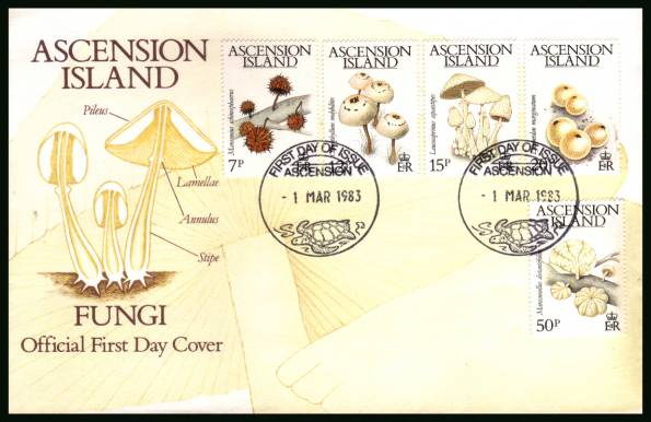 Fungi - Mushrooms<br/>on an official unaddressed official First Day Cover