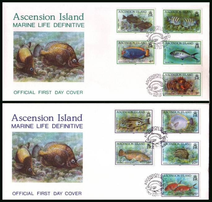 Fishes<br/>The first ten values of the definitive set<br/>on two official unaddressed official First Day Covers