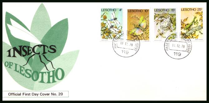 Insects of Lesotho<br/>on an official illustrated First Day Cover
