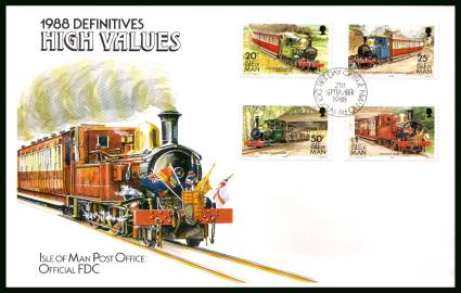 Manx Railways part of definitive set<br/>on an unaddressed illustrated official First Day Cover