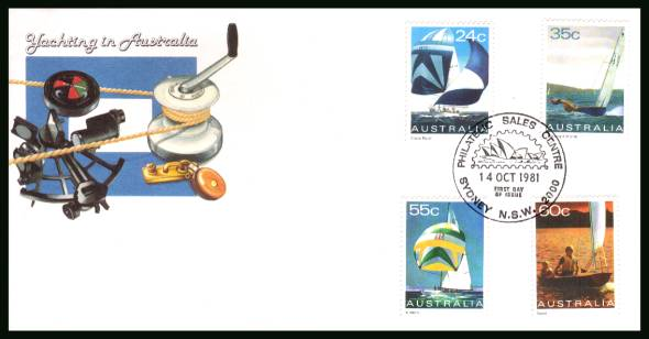 Yachts<br/>on an unaddressed illustrated official First Day Cover
