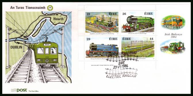 150th Anniversary of Irish Railways minisheet<br/>on an unaddressed official Commemorative Cover - note this is NOT an FDC