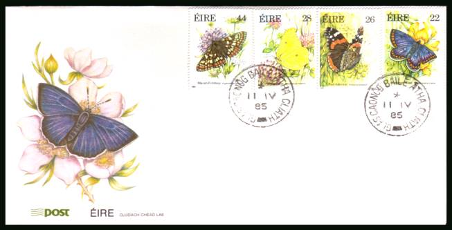 Butterflies set of four<br/>on an unaddressed official First Day Cover