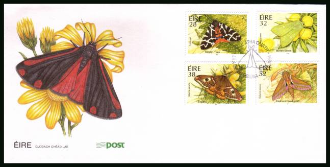 Moths set of four<br/>on an unaddressed official First Day Cover
