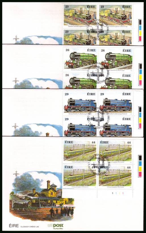 150th Anniversary of Irish Riailways in cylinder blocks of four<br/>on four unaddressed official First Day Covers
