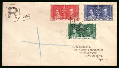 Coronation set of three<br/>on a plain hand stamp addressed REGISTERED First Day Cover